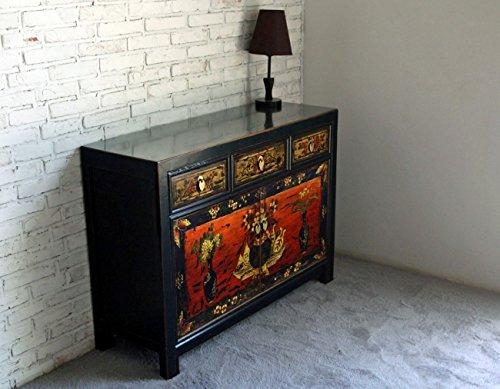 OPIUM OUTLET Cómoda china vintage, aparador shabby chic de madera, color negro y multicolor