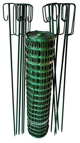UvV Set Fangzaun in grün 50 m x 1 m hoch + 10 grüne Absperrleinenhalter, Absperrnetz, Maschenzaun, Bauzaun Rolle Kunststoff Extra Reissfest, 150 gr (7,50 kg) (Grün-Grün)