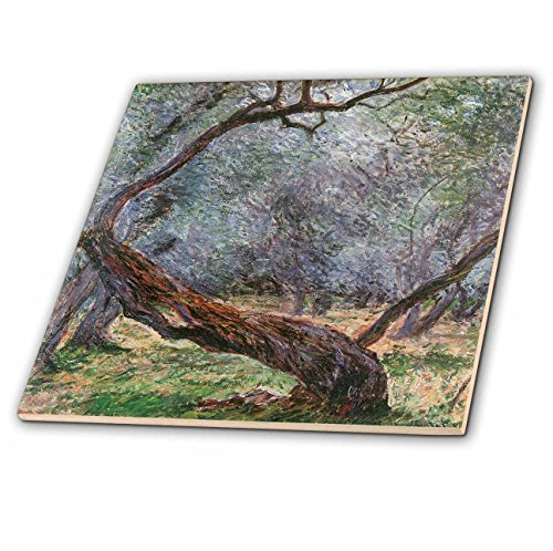 3dRose ct_126609_1 Study of Olive Trees by Claude Monet, 1884 Ceramic Tile, 4-Inch
