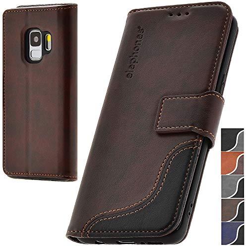 elephones® Handyhülle für Samsung Galaxy S9 Hülle - Kompatibel mit Galaxy S9 Schutzhülle Handy-Tasche Flip Case Cover Braun