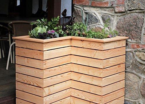 HOQ 63000266 - Hochbeet 80 x 80 x 72 cm mit Winkel ca. 40 x 40 cm aus 16 mm Lärchenholz mit Pflanzenvlies