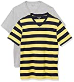 Amazon Essentials Men's 2-Pack Slim-Fit Short-Sleeve V-Neck T-Shirt, Yellow and Navy Rugby Stripe/Grey Heather, X-Large