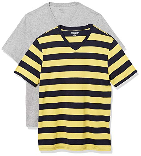 Amazon Essentials 2-Pack Slim-Fit V-Neck T-Shirt Camiseta, Rayas de Rugby Amarillo y Azul Marino/Gris Jaspeado, L, Pack de 2
