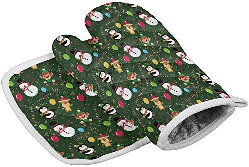 MODORSAN Weihnachten Schneemann Elch Pinguin Laterne Ballonofen Handschuhe Hitzebeständige Hot Pads mit rutschfesten Grillhandschuhen aus Polyester für Küche,Kochen,Backen,Grillen