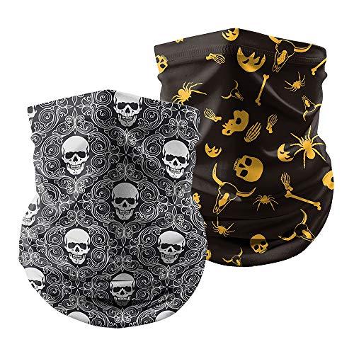 Unisex Seamless Headband Neck Gaiter Scarf Dust Wind Bandana Balaclava Headwear for Outdoor Hiking Cycling (2 pcs Skull 1)