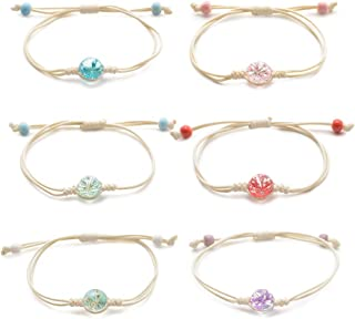 Tarsus Cute Handmade Friendship Bracelets Natural Dried Flower Beaded Bracelet Birthday Gifts for Women Teens and Girls 6 Pcs