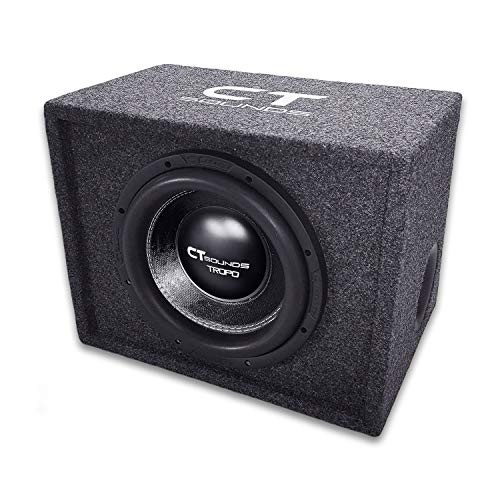 CT SOUNDS Single TROPO 10 Inch Ported Car Bass Package – 600W True RMS / 1200W Peak Power, Dual 2 Ohm Impedance, Rubber Suspension with Factory Tuned Ported Box – B-Box-S-10-3.0