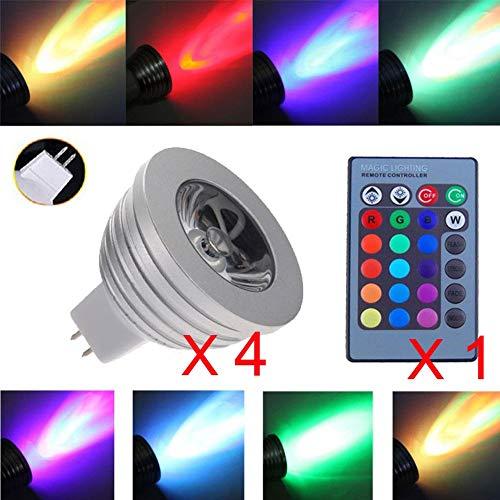 Strahler, GU10MR16LED-Leuchtmittel, 4W, in 16wechselnden Farben, mit einer Fernbedienung mit 24Tasten, für die Dekoration zu Hause, in einer Bar, Schlaf- oder Wohnzimmer oder die Beleuchtung auf einer Schiene, 4Stück., Mr16_multi-colored, mr16, 3.00W