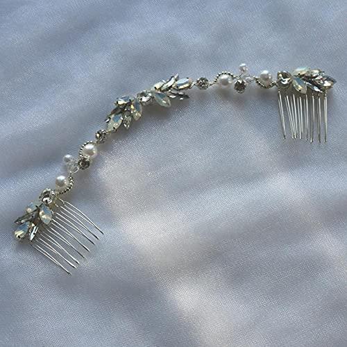 Peineta para el pelo hecha a mano para bodas, con cristal ópalo,...