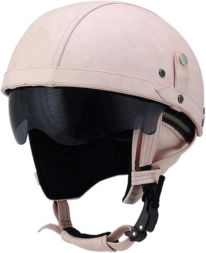 TYYCKJ Gafas de Cuero para Cascos de Motocicleta, Cascos Antiguos, Motociclistas, cruceros, Scooter, Turismo (Rosa con Lente de Sol desplegable)