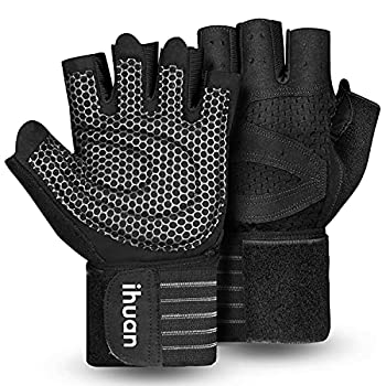Updated 2021 Ventilated Weight Lifting Gym Workout Gloves Full Finger with Wrist Wrap Support for Men & Women Full Palm Protection for Weightlifting Training Fitness Hanging Pull ups