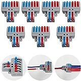 CTRICALVER Lever-Nut Surtidas Conector Paquete de 7, Bloque de Terminales de Barra de Presión Bilateral, 2 en 6 fuera Conductor Compacto Cable Conector,Con tornillos de montaje