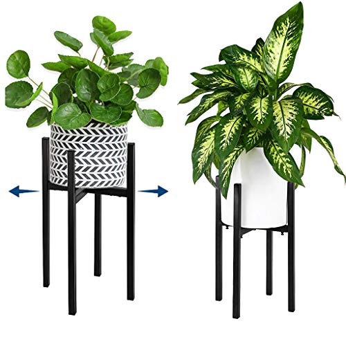 ZERIRA Modern Simple Indoor Metal Plant Stand with Adjustable Height and Width Indoor and Outdoor Floor-Standing Plant Stand for 10-15 Inch Planter Pots (Plant and Pot Not Included)