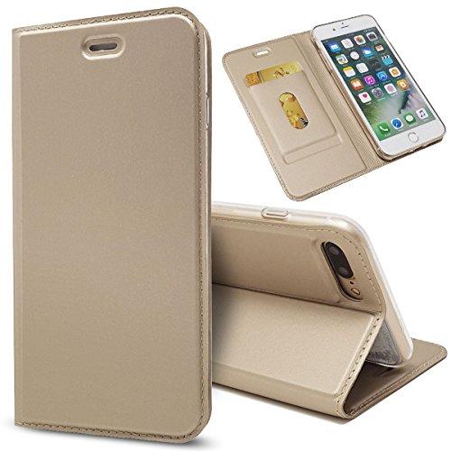 Zouzt Funda Compatible con iPhone 7 Plus / 8 Plus; Estuche de Cuero de PU Ultra Delgado con Cierre magnético/función de Soporte/Ranura para portatarjetas para iPhone 7 Plus / 8 Plus,Dorado