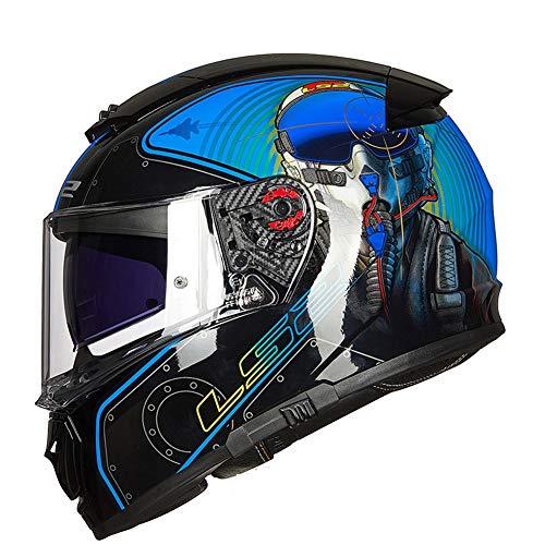 YHDQ Race-helmen met dubbele lens voor motorfietsen, motorhelmen, anti-misthelmen voor mannen en vrouwen in alle seizoenen, met originele anti-mistfilm Retro XX-Large Mahao