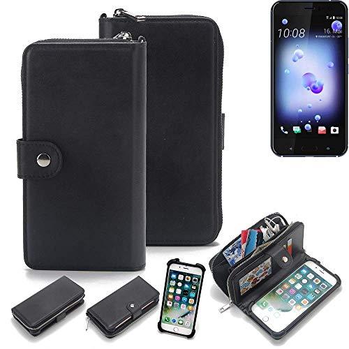 K-S-Trade 2in1 Handyhülle Für HTC U11 Dual-SIM Schutzhülle und Portemonnee Schutzhülle Tasche Handytasche Hülle Etui Geldbörse Wallet Bookstyle Hülle Schwarz (1x)