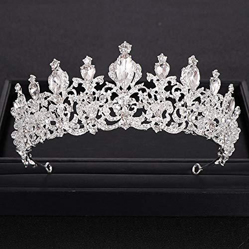 Couronne Tiara Cadeau De Noël,La Nouveauté À La Mode Vintage Silver Rhinestone Crystal Crown Princess pour Cheveux d
