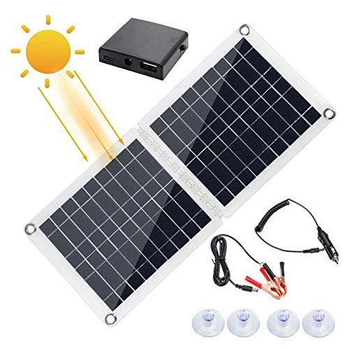 60W Solarmodul Dual USB Solarpanel faltbar Batterieregler Mobiles Solarpanel 18V/12V/5V Solarladegerät Solarpanel für Autobatterieladung Camping Controller