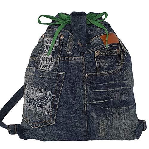 Damen Rucksack mit Kordelzug und Schnallenverschluss Sport Taschen Damen Jeansstoff dunkelblauer Rucksack Mädchen Denim Daypack Damen Gym Bag Wanderrucksack klein