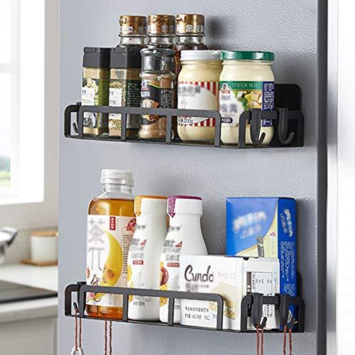 SOSMAR 2-Stück Kühlschrank Regal Magnetisch Gewürzregal Hängeregal 30,5cm Groß für Gewürze Aufbewahrung Organizer Platzsparend für Küche, Raum etc.- Schwarz