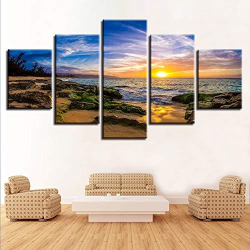 Canvasafbeelding, modulair, 5 delen, schilderijen van rots en zee, zonsondergang, zeelandschap, decoratie, affiche, woonkamer, moderne muurkunst L-30x40 30x60 30x80cm Frame