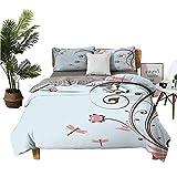 DRAGON VINES Juego de ropa de cama de 4 piezas, de algodón, con diseño de ramas, fragancia, esencia temática, apartamento, dormitorio, marrón oscuro, azul bebé, rosa claro, 90 x 90 cm