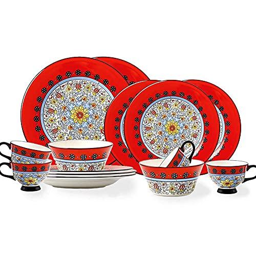 n.g. Wohnzimmeraccessoires Keramik Geschirrsets für 4 Kreativität Geschirrsets im amerikanischen Stil mit 8 Tellern 2 Schüsseln und 4 Tassen Komplette Porzellankombination Mikrowellen- und