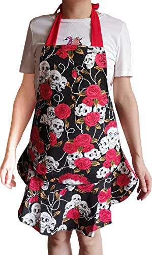 Women's Cotton Rose Skull Floral Apron with 1 Front Pocket, Adjustable Long Ties for Kitchen Cooking, Baking and Gardening, 26 x 26 in (Red Rose+Skull)