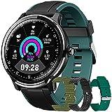Reloj Inteligente Hombres Smartwatch de Pantalla Táctil Ccompleta Impermeable IP68, Pulsera de Actividad Inteligente con 8 Deportes,GPS,Caloría,4 Correas, Compatible con Android iOS (Verde)