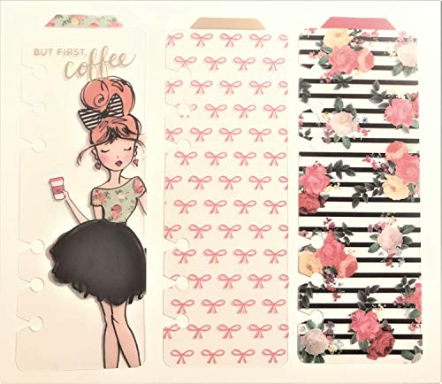 3 Ct. Girlie Tabbed Bookmarks for Agenda 52 Personal Planners Cactus Bows Pretty Girl Coffee Bouquets