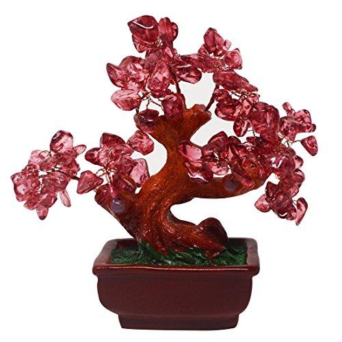 Feng Shui - Árbol de cristal de cuarzo rosa para dinero, estilo bonsa