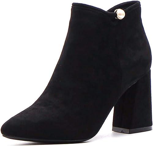 HBDLH Chaussures pour Femmes Martin Bottes avec Haute 8Cm Dur Wild A Souligné Bottes en Daim Noir Court Pearl.