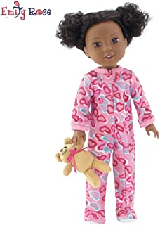 Emily Rose 14 Inch Doll Clothes/Clothing   Pink Footed Heart Pajamas PJs Outfit with Teddy Bear   Fits American Girl Wellie Wishers Dolls