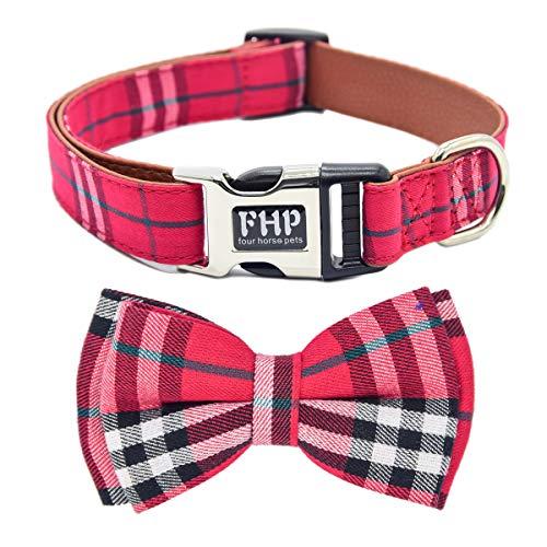 Fourhorse Soft &Comfy Bowtie Dog Collar, Detachable Bowtie, Adjustable Collar,for Small Medium Large pet