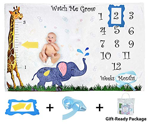 Amzing Baby - Monthly Baby Milestone Blanket - Height and Weight Tracker for Newborn Boys and Girls | Accessories Included | Large 40 x 60 WrinkleFree Thick Fleece | Updated Version for Baby Showers