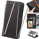 HYMY Pelle PU Custodia per Xiaomi Mi 10T Lite 5G Custodia + 2PC Vetro Temperato Vetro Pellicola Glass - Bookstyle Flip Case Cover -Black