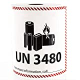 UN 3480 Lithium Battery Handling Labels - 300 Adhesive Labels Per Roll