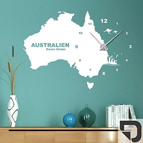 DESIGNSCAPE® Wandtattoo Uhr Australien 101 x 73 cm (B x H) dunkelgrau inkl. Uhrwerk schwarz, Umlauf 44cm DW813008-M-F7-BK