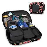 USA Gear Hard Shell Toiletry Travel Bag Organizer Kit with Customizable Storage Pockets - Perfect for Carrying Electric Toothbrush, Shampoo, Body Wash, Shaving Supplies and More Toiletries - Floral