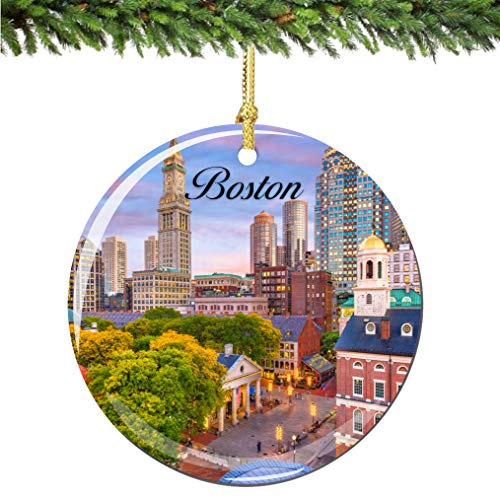 City-Souvenirs Boston Christmas Ornament Porcelain Double Sided 2.75 Inches