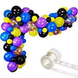 Video Game Balloon Garland Kit, 75pcs 12 Inch 5 Inch Black Yellow Royal Blue Light Purple Latex Balloons Confetti Balloon Strip Set for Video Game Party Supplies Gamer Birthday Decorations