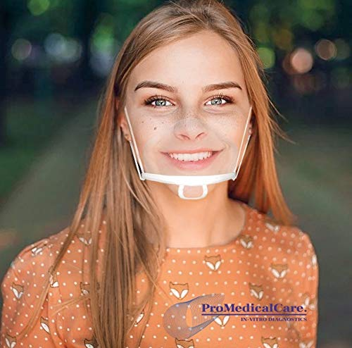 ProMedical Care Mundschutz Visier 10 Stk. (extra Groß) - Mund und Nasenschutz Plexiglas für freies Atmen - Mundschutz kunststoff transparent: Ideal für Gastronomie & Verkauf
