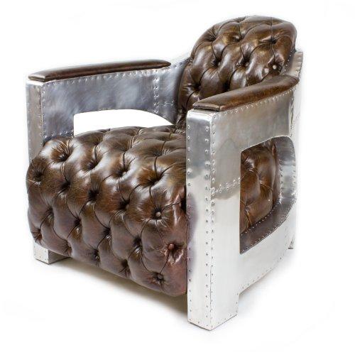 Phoenixarts Echtleder Vintage Alu Chesterfield Sessel Retro Ledersessel Design Lounge Club Sofa NEU 456