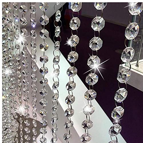 TOSSPER Silver Beaded Door Curtain Crystal Garland Glass Beads Chain String Curtain Panel For Door Living Room Wedding Decor