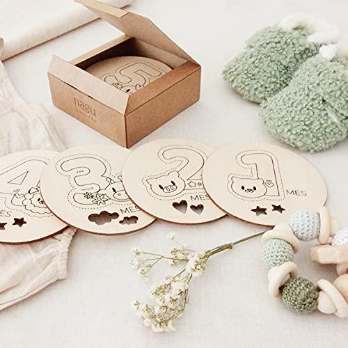 12 Tarjetas de etapas del bebé • Placas decorativas para fotos de cumple mes de bebé, un regalo original para la mujer embarazada y el recién nacido