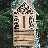 Hotel de insectos para jardín, hotel de abejas de madera natural, casa de insectos para abejas, escarabajos, mariposas y otros insectos, 30 x 15 x 4 cm