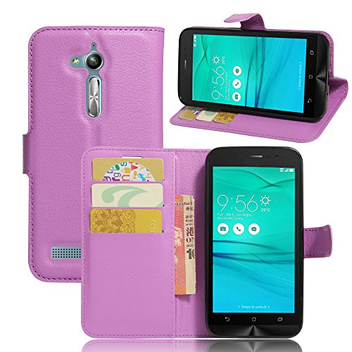 Tasche für Asus ZenFone Go ZB500KL (5.0 zoll) Hülle, Ycloud PU Ledertasche Flip Cover Wallet Hülle Handyhülle mit Stand Function Credit Card Slots Bookstyle Purse Design lila