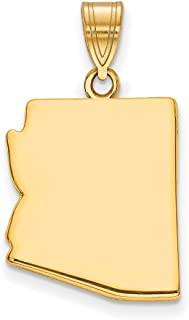 14k Yellow Gold Az State Pendant Charm Necklace Bail Only Travel Transportation Fine Jewelry Gifts For Women For Her
