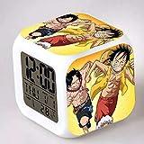 fdgdfgd Hombre de Goma Luffy Anime Doll Reloj Despertador LED Juguete Colorido Niños con termómetro Fecha Reloj Despertador
