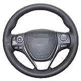 LUVCARPB Cubierta del Volante del Coche, Apto para Toyota RAV4 2013-2017 Corolla Auris 2013-2016, Interior Cosido a Mano de Bricolaje